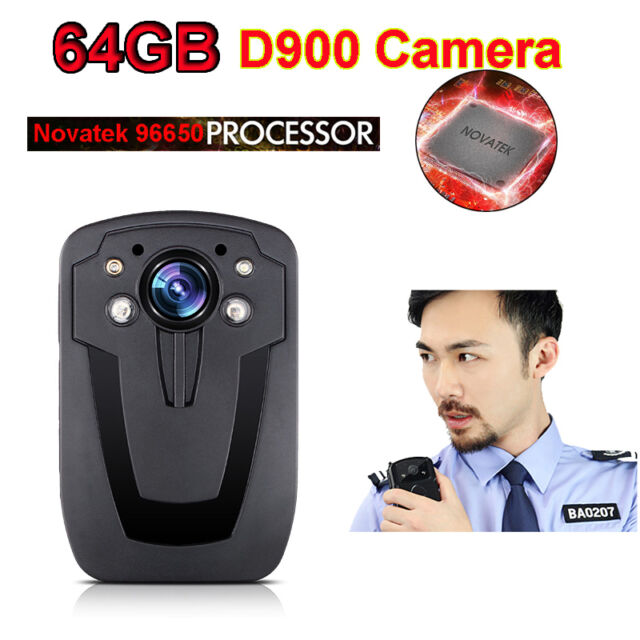 64GB D900 Security Guard Police Body Worn Camera IR Night Vision HD 1080P 2""