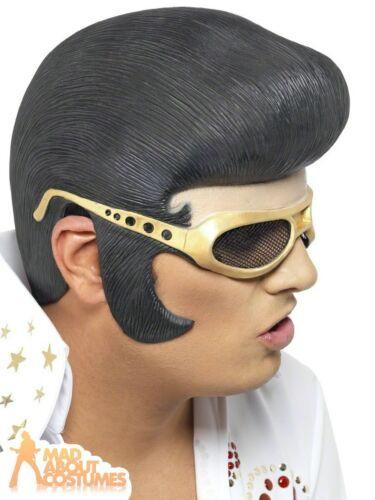 Glasses 1950s Rock n Roll Fancy Dress Elvis Headpiece Black Gold Rubber Hair