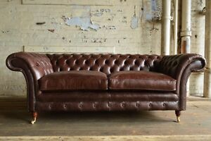 Merveilleux Image Is Loading HANDMADE 3 SEATER VINTAGE ANTIQUE BROWN LEATHER  CHESTERFIELD