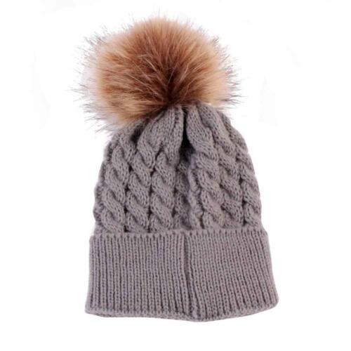 Newborn Kids Baby Boy Girl Hat Knit Wool Girl Boy Hemming Crochet Ski Cap LIU9