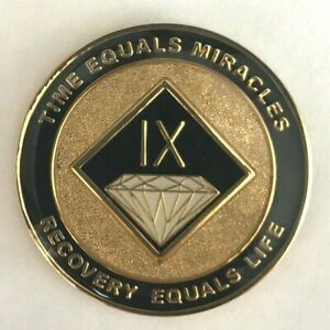 NA Black Gold Coin 5 Year Tri-Plate Narcotics Anonymous Medallion Out of Ashes