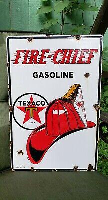 Texaco Fire-Chief gasoline sign 12 X 18 Inch pump gas oil fire chief replica