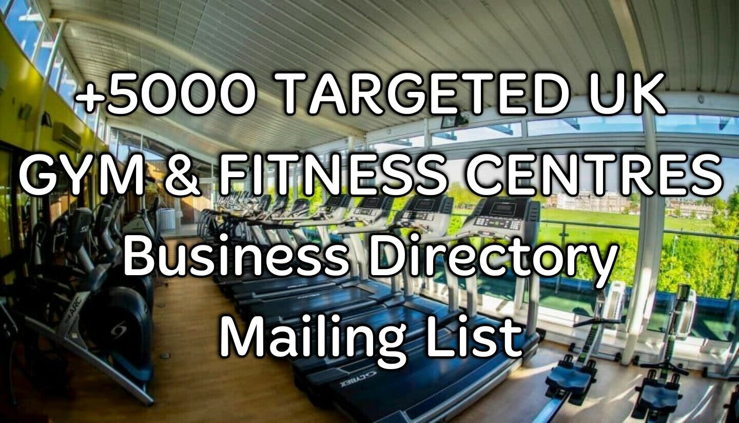 +5 TARGETED UK GYM & FITNESS CENTRES Business Directory Marketing Mailing List