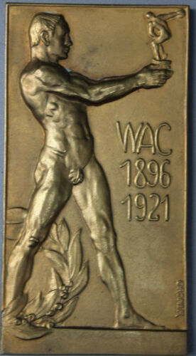 Wiener Athletiksport-Club (WAC) Bronze Medaille Jugendstll Nude Man Ordner sign.