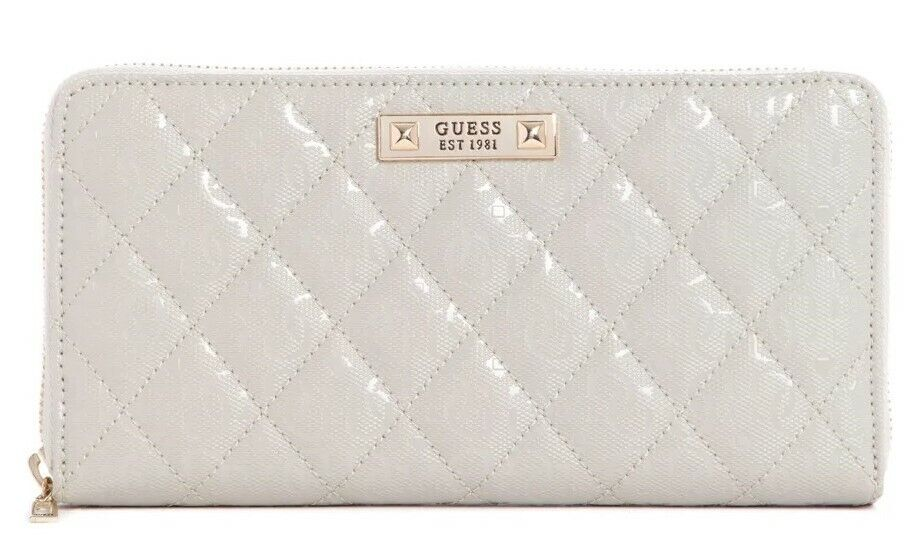 NEW GUESS White Glossy Patent Quilted Large Zip-Around Check Organizer Wallet