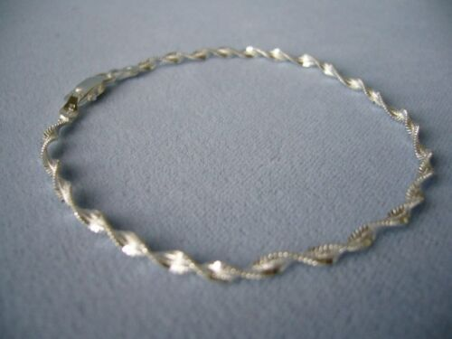 """NEW ITALIAN STERLING SILVER ANKLE BRACELET 11/""""-TWISTED SHIMMERY LINK ITALY 925"""
