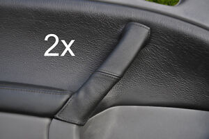 black-stitch-FITS-SAAB-95-9-5-2X-LEATHER-DOOR-HANDLE-COVERS-1997-2005
