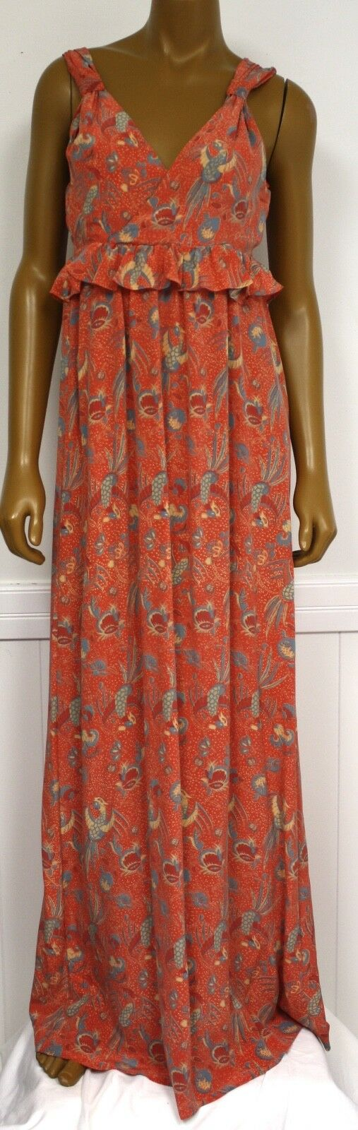 French Connection Kleid damen Orange Rosa Sommerkleid Maxi Seide Neu Ret. 228
