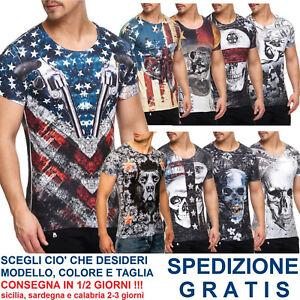 T-Shirt-Uomo-Super-Slim-Fit-Maglietta-Aderente-Stretta-con-Disegni-Maniche-Corte