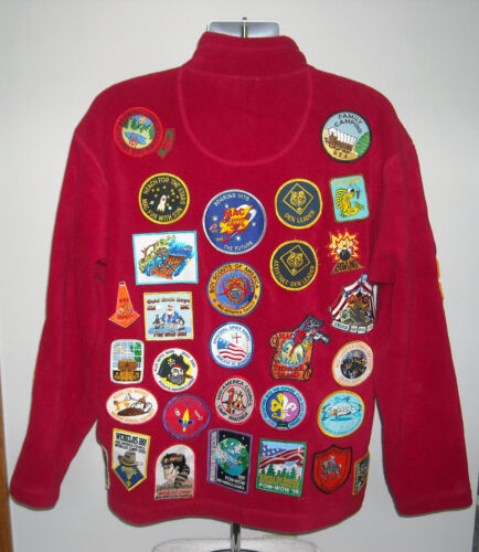 Boy Scout Fleece Jacket 46 Patches Adult Medium Re