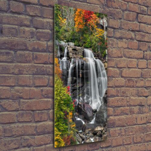 Wandbild Kunst-Druck auf Hart-Glas hochkant 50x125 Wasserfall im Herbst