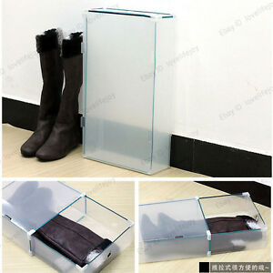 boots storage shoe boxes organizer clear