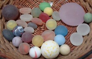 30-Vintage-Glass-Sea-Style-Beach-Marbles-Pcs-Flats-Cats-Eye-Gem-Red-Blue-Green