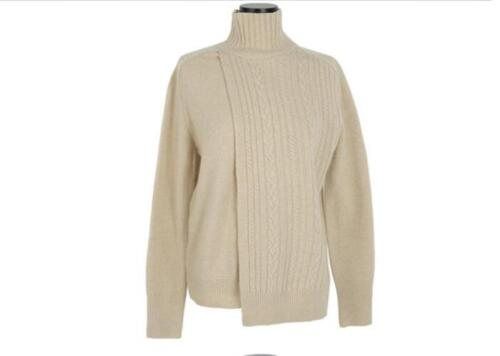 Women High Neck Sweater Apricot Party Slim Fit Chic Pullover Knitting Oversize