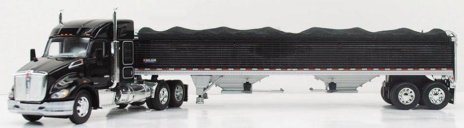 """1 64 DCP KENWORTH T680 52"""" Mid-Roof (blk) w  Wilson Grain Trl"""