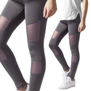 Urban-Classics-Damen-Ladies-Tech-Mesh-Sport-Leggings-Yoga-Pants-Fitnesshose-DKG
