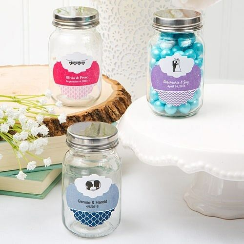 50 Personalized Mason Candy Jar Wedding Bridal Baby Shower Party Favors