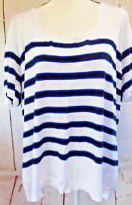 Lane-Bryant-Plus-Size-Black-and-Blue-Stripe-On-White-Top-26-28W-New