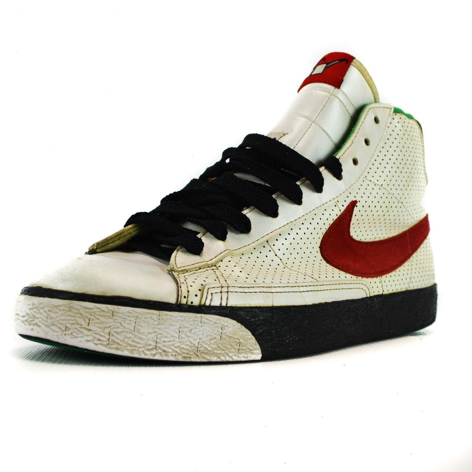 Nike Men's Blazer High BROOKLYN Beet Black Red Green 316664-161 Size 9