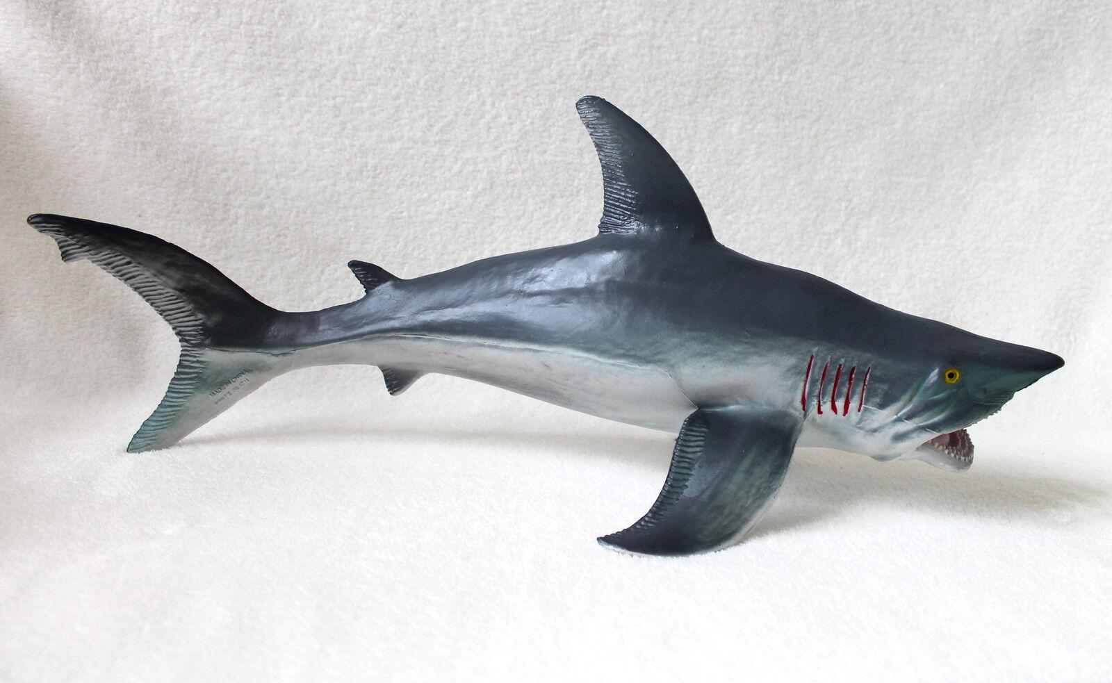 Hai 54cm Haifisch Großer whiteer Hai White Shark Kunststoff Spielfigur Fisch Deko