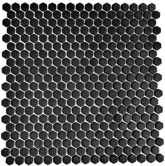 Mosaik Hexagonal Vetro schwarz matt Fliesenspiegel Küche Art  140-HX11B 10Matten