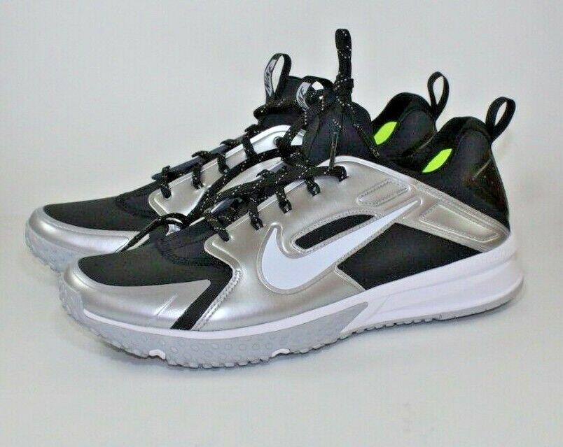 Nike Air Huarache Turf Baseball Trainer shoes Blk Silver 923435-015 Size 12