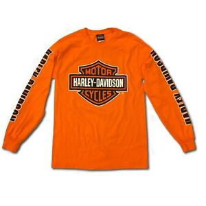 ba0a0621e0f6 Harley-Davidson Mens Bar and Shield Long Sleeve, Safety Orange T ...