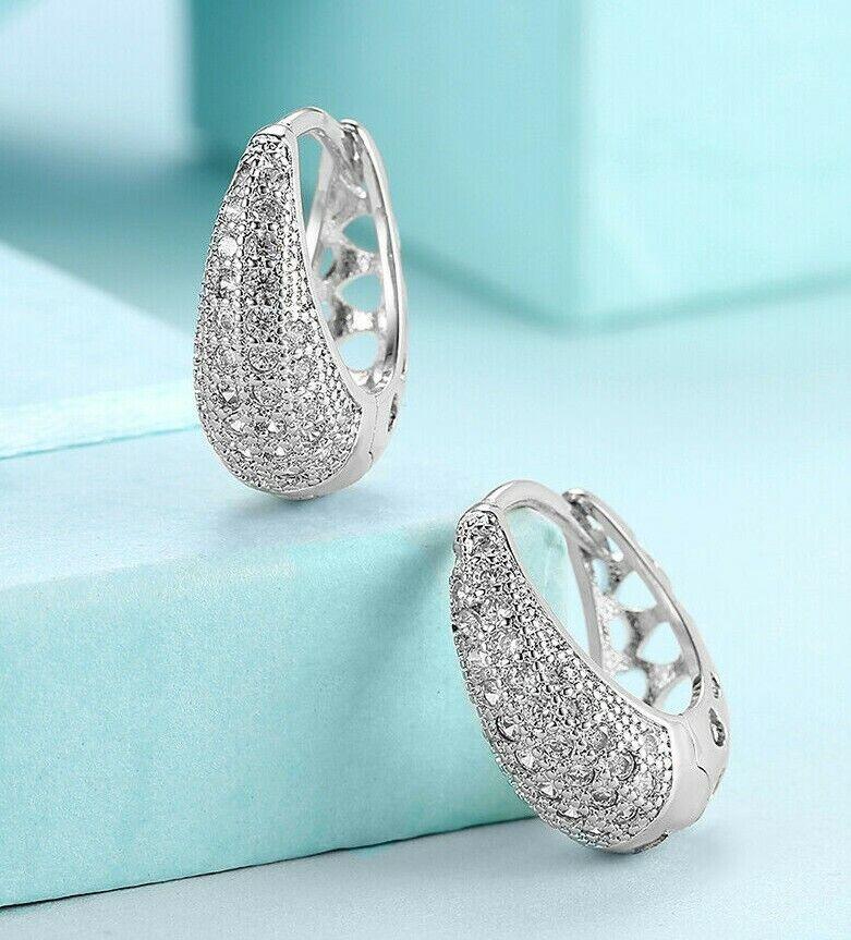 "1.75/"" 45mm ANTI-TARNISH Diamonique CZ Hoop Earrings Real 925 Sterling Silver"