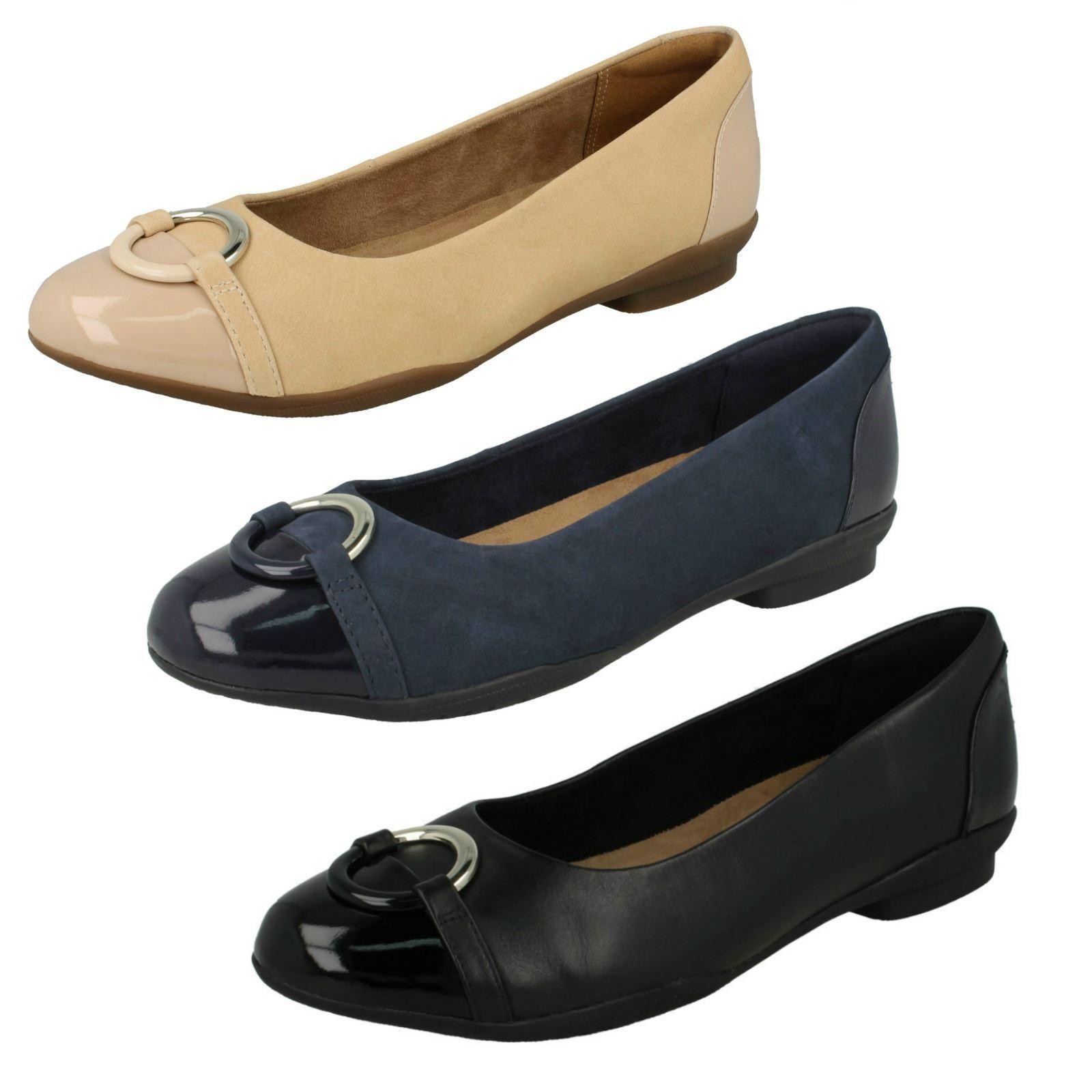 Femmes Clarks Unstructurouge Marine Cuir Noir sans Lacets Chaussures Plates Neenah