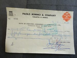 BICAL BANK CHEQUE WITH 2d REVENUE STAMP NO 44