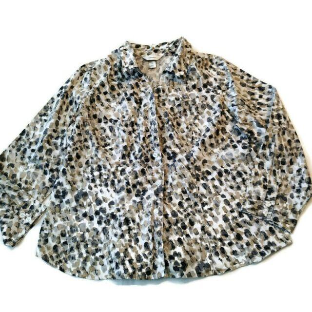 CJ Banks Shirt Top Sz 1x Button Career Cotton Black White Spots Long Slv 16w 18w
