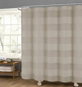 Image Is Loading Semi Sheer Taupe Fabric Shower Curtain Wide Stripe