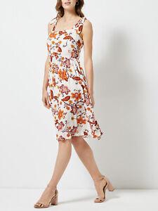 Nuevo-Dorothy-Perkins-talla-4-8-10-12-14-y-18-Marfil-Vestido-Estampado-Floral-Cami-b6