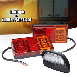 Paire-12V-LED-Feux-Freinage-Arriere-Stop-Eclairage-Plaque-Bateau-Camion-Remorque