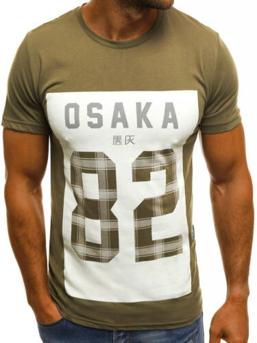OZONEE B//6787 Herren T-Shirt Kurzarm Shirt Aufdruck Figurbetont Mit Motiv MIX