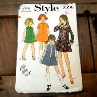 Vintage Retro 1960s Sewing Pattern Style 2596 Girls Dress Size Age 12 - Childs