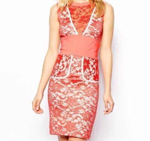 Tempest Jayme V Neckline Floral Lace Pencil Dress Size 6-16 BNWT RRP £125 Coral
