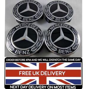 SET of 4x 75mm Mercedes Black Alloy Wheel Centre Caps A B C E S CLASS CLA CLS SL