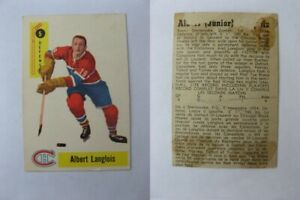 1958-59 Parkhurst #5 Langois Albert paper loss at the back RC Rookie  canadiens