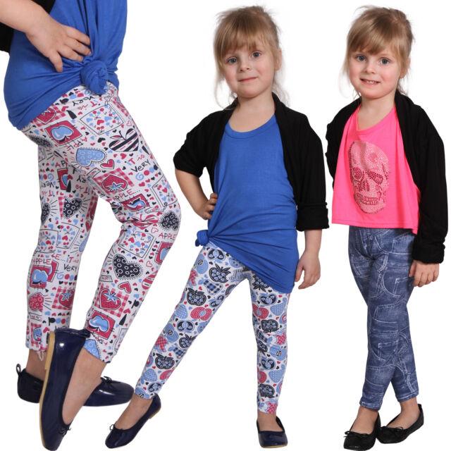 Kinder Sommer Leggins Hose Jeans-Naht-Look Leggings Jeggings Treggings Neu