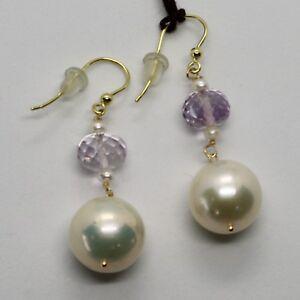 Ohrringe-aus-Gold-Gelb-18K-750-Perlen-Wasser-Suess-und-Amethyst-Pink-Made-in-Italy