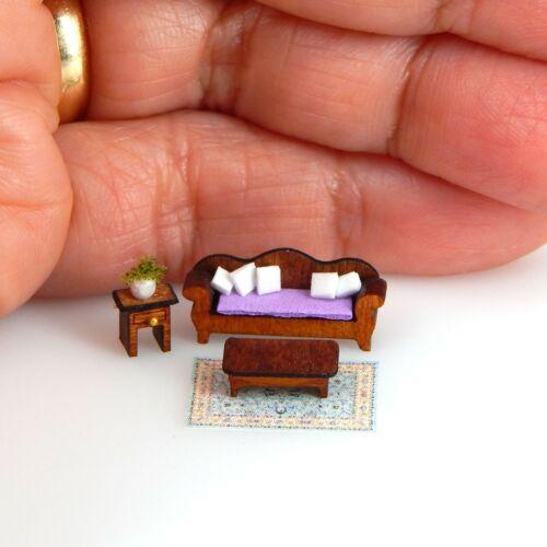 1//144th Scale Dollhouse Miniature Lavender Sofa Side /& Coffee Table Living Room