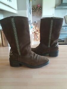 Lovely-Ladies-Size-5-top-quality-ROXY-brown-Suede-Mid-Calf-Boots-WINTER-CASUAL