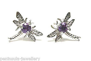 9ct-White-Gold-Amethyst-Studs-Dragonfly-Earrings-Gift-Boxed-Made-in-UK