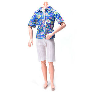 Tuch Kurze Hemd Mode Weiß Blumige Anzug Für Hosen Ken Puppe EDHI29