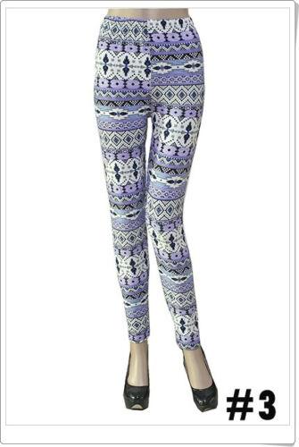 Fashion Colorful Pattern Wave Leggings One Sz Skinny Women Slim Stretch Pants 3