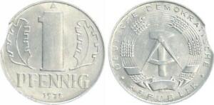 GDR 1 Pfennig IN Aluminium, J.1508 - 1975 With Zainende Lack Coinage, Xf-Bu