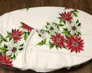 Vintage Christmas Tablecloth rectangle poinsettia red white 60 x 80