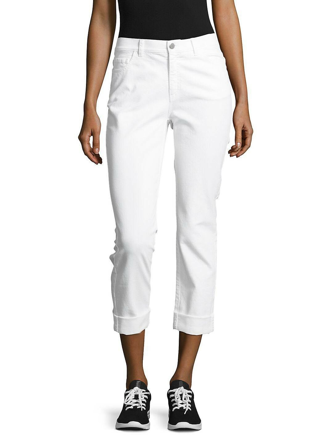 Lafayette 148 White Cotton DALIA Ankle Stretchy Cuffed Croped Jeans Sz.4