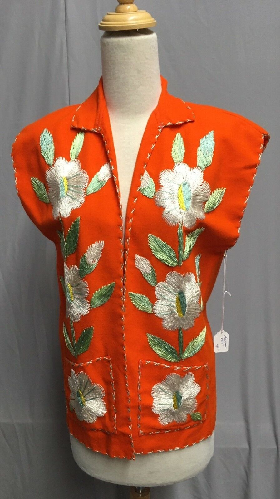 #20-090, 1950's -1960's Mexico Orange Felted Wool Embroidered Floral Souvenir Ja